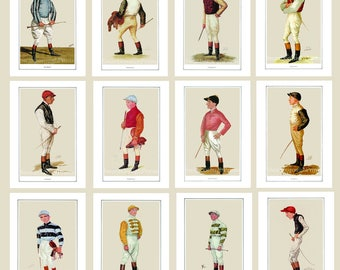 Set of 12 Jockey Prints Size 8 x 10 inches.15% Discount Price Jockey Prints. Victorian Jockeys Horse Racing Prints Jockeys. Ascot Gold Cup