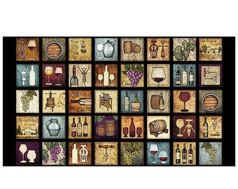 20% off thru 2/22 fabric panel PERFECTLY VINTAGE by QT Fabrics- 24 by 44 inches-bottle- glass- wine- grapes-25901J