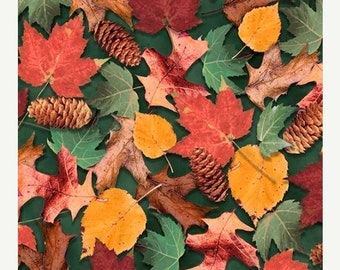 15% off thru Mar.19th NORTH WOODS-by the half yard by Qt fabrics-falling multicolor leaves on green Fall Autumn Quilting Treasures-26261-f