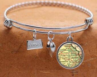 Leavenworth KS Map Charm Bracelet State of Kansas Bangle Cuff Bracelet Vintage Map Jewelry Stainless Steel Bracelet Gifts For Her