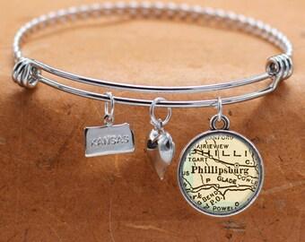 Phillipsburg KS Map Charm Bracelet State of Kansas Bangle Cuff Bracelet Vintage Map Jewelry Stainless Steel Bracelet Gifts For Her