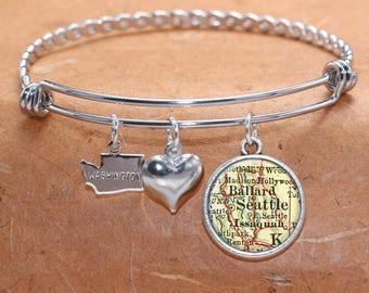 Seattle WA Map Charm Bracelet State of Washington Bangle Cuff Bracelet Vintage Map Jewelry Stainless Steel Bracelet