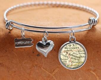 Lebanon PA Map Charm Bracelet State of Pennsylvania Bangle Cuff Bracelet Vintage Map Jewelry Stainless Steel Bracelet