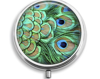 Pill Box Pill Case Peacock Feathers Design Pill Holder Pill Container Trinket Box Vitamin Holder Medicine Box Mint Tin