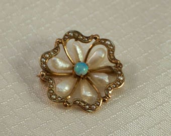 c1890's Victorian 10kt Yellow Gold Pinwheel Brooch/Pendant with Seed Pearls and Blue Opal Center