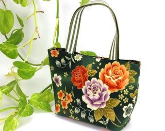 Tote Bag Small, Minimalist Bag, market bag, Daily bag, Gift For Wife, Floral Bag, Peony Green