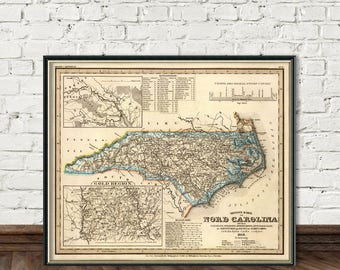 Old map of North Carolina - Vintage map reproduction - North Carolina  wall map