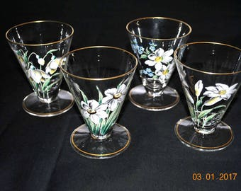 4 - Vintage  Hand Painted Enamel Footed Juice Glasses with Gold Trim