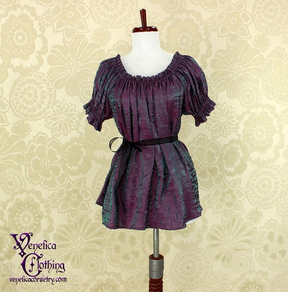 Steampunk Renaissance Cora Chemise in Mermaid Purple/Green Crinkled Shimmer Satin -- Custom Made in Your Size