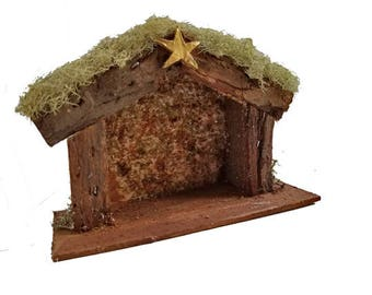Miniature Nativity Stable - Wood Nativity manger, Nativity creche, rustic Christmas Nativity creche display, gold star, Holy Family