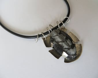 Fossil necklace, Orthoceras fossil pendant, Fossil Jewelry for men and women, Statement silver pendant Netherlands jewelry with rubber chain