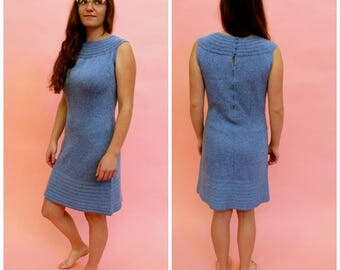 1960s Knit Blue Mod Lurex Dress