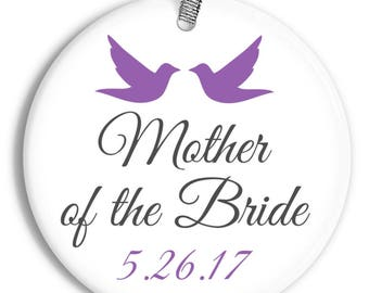 Mother of the Bride Wedding Favor Keepsake- Holiday Doves - Personalized Porcelain Christmas In-Law Ornament - orn0055 -Peachwik Ornament