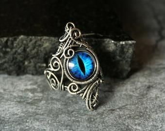 Dragon - Fiery Orange Dragon Eye Statement Ring Size US7 3/4 Copper Intricate Wire Wrapped OOAK