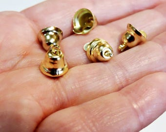 Tiny Gold Bells, 9mm Liberty Bells, Itty Bitty Metal Craft Supply Bells, Pendants, Charms, Ornaments Embellishments set of 18 itsyourcountry