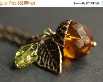 SUMMER SALE Amber Orange Acorn Necklace. Amber Acorn Pendant. Crystal Acorn Necklace. Glass Acorn Charm Necklace. Bronze Acorn Jewelry Handm