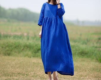 Royal blue loose long dress white long dresses