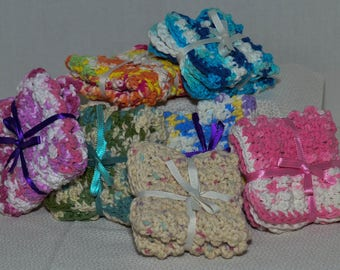 Crocheted Dish Cloth, Wash cloth, cotton