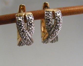 Vintage Two Tone Huggie Pierced Earrings in Sterling Vermeil..... Lot 5324