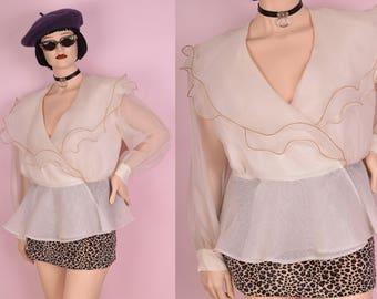 80s Sheer Ivory Flounce Long Sleeve Blouse/ Large/ 1980s