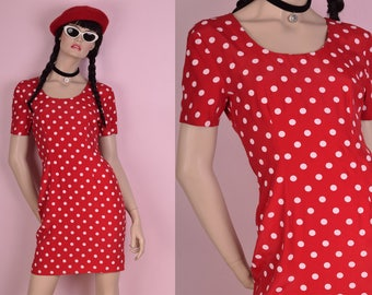 80s Red and White Polka Dot Dress/ US 5-6/ 1980s/ Short Sleeve