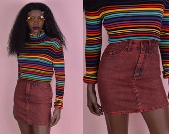 80s Red Acid Wash High Waisted Denim Skirt/ 24 Waist/ 1980s