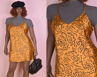 90s Paisley Print Slip Dress/ Large/ 1990s/ Tank/ Sleeveless