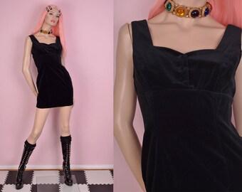90s Guess Velvet Little Black Dress/ US 3/ 1990s/ Mini Dress
