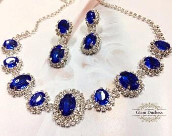 Wedding jewelry, Bridal jewelry, bridesmaid necklace earrings, vintage inspired rhinestone bridal statement, Royal Blue crystal jewelry set
