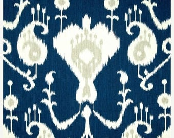 SALE Java Ikat Navy Blue Curtains  Rod Pocket  63 72 84 90 96 108 or 120 Long by 24 or 50 Wide