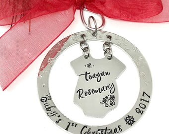 Baby's First Christmas Ornament- Personalized Baby Ornament - Custom Baby Ornaments - Hand Stamped Ornaments - The Charmed Wife - christmas