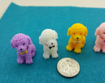 Sitting Puppies in Resin 4 colors Miniatures Play set Pets Animals  lot of 4