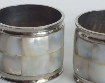 Mosaic Mother of Pearl Shell and Silver Metal Napkin Rings Set of 4