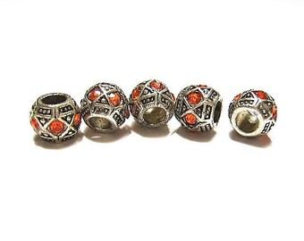 RESTCOCK date 8-18-17,  Quantity 5, ORANGE, Diamond Pattern, Glass & Tibetan Silver, European, Charm Beads for Euro Bracelets and Cuffs