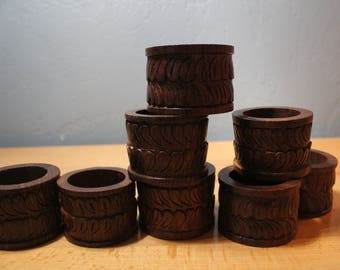 Carved Wood Napkin RIngs