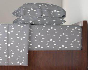 Bedding Sheet Set, Grey Moon Phase Design, Includes Fitted Sheet, Flat Sheet, and Pillowcase, Twin, Queen, King Sheet Set