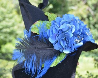 Blue Flowered Witches Hat
