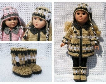 18 inch Doll Clothes Crochet Pattern 3 PC Set for 18 in Doll American Girl Crochet Patterns Jacket Boots Ear Flap Hat 18 in Dolls Outfit AG