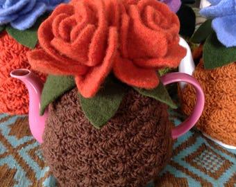 Orange Rose Tea Cozy with Brown Base