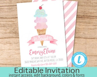 First Birthday Invitation, Ice Cream Birthday Invitation, Pink Ice Cream invitation, Editable Birthday Invitation, Instant Download