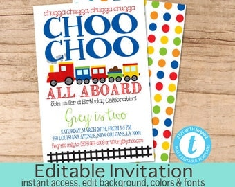 Choo Choo Train Birthday Invitation, Boys Birthday invitation, Editable Train Invitation, Choo Choo Invitation, Templett, Instant Download