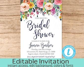 Bridal Shower Invitation, Floral Bridal Shower invitation, Floral Watercolor Invitation, Editable Invitation, Templett, Instant Download