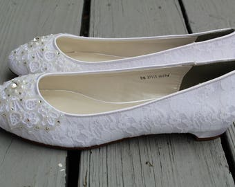 Shimmer Lace Bridal Ballet Flats Wedding Shoes - Any Size - Pick your own crystal color