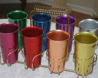 Vintage Gold Tone Metal Wire Rack Drink Carrier Drink Caddy With 8 Bright Colored Glasses Barware Rainbow