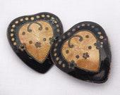 Antique Guilloche Enamel Hearts, Antique Dress Sash Slides, Vintage Accessories Marked Austria, Vintage Button Covers