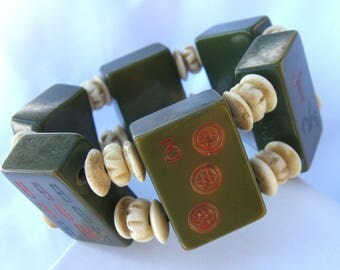 Vintage Mahjong Tile Stretch Bracelet - 1930s Avocado Green - Art Deco Era Jewelry - Chinese Bamboo