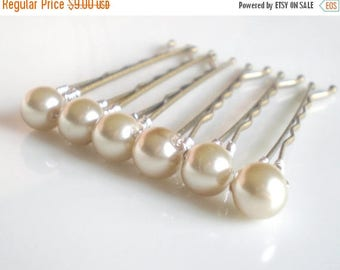 ON SALE Bridal Taupe Pearl Bobby Pins... Pearl Wedding Hair Pins