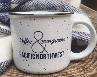 Coffee and evergreens mug