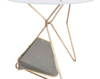 Mid-Century Modern Italian Table with Magazine Holder