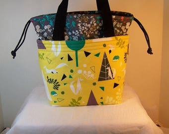 Drawstring lunch bag, Cosmetic case, insulated lunchbox, fabric Lunch cooler, food tote Insulated Lunch Sack, Cosmetic bag, Make up Kit,
